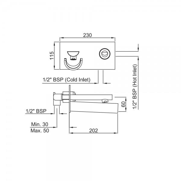 Joystick in-wall Basin Mixer